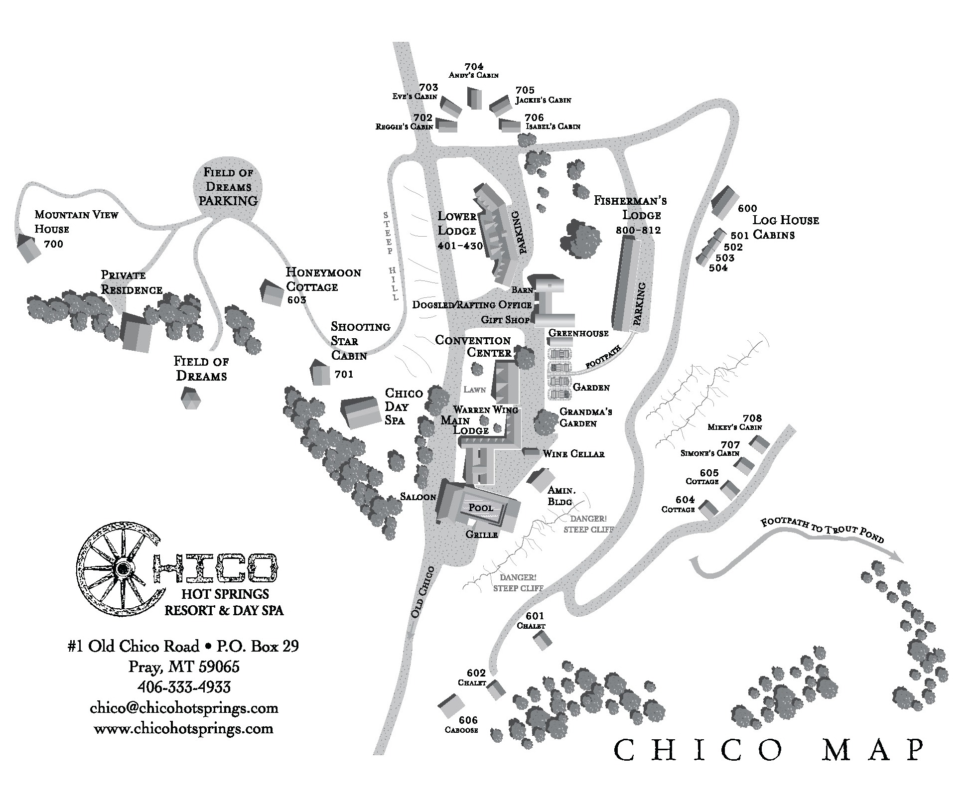 Property Map Chico Hot Springs Resort Day Spa - Us hot springs map